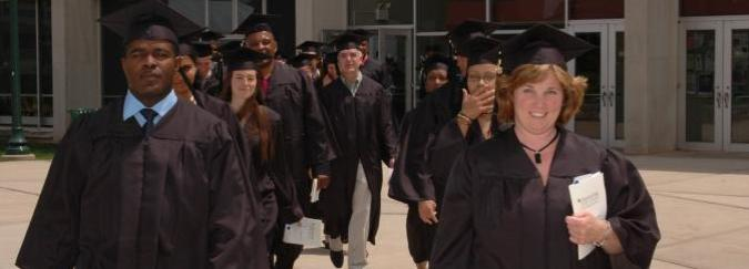 graduates marching in